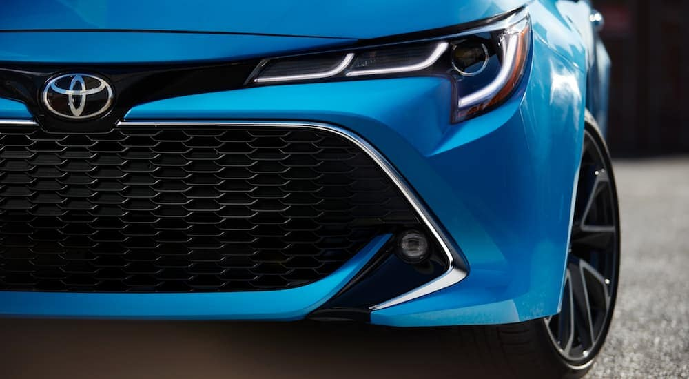 A closeup of the grille on a 2019 Toyota Corolla from a Toyota Dealership Cincinnati