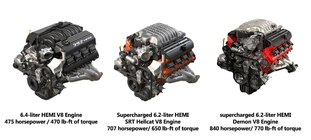 closer look at all 3 srt engines on the dodge challenger