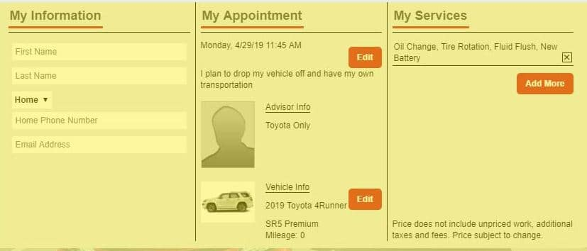 Vehicle Service and Appointment Review