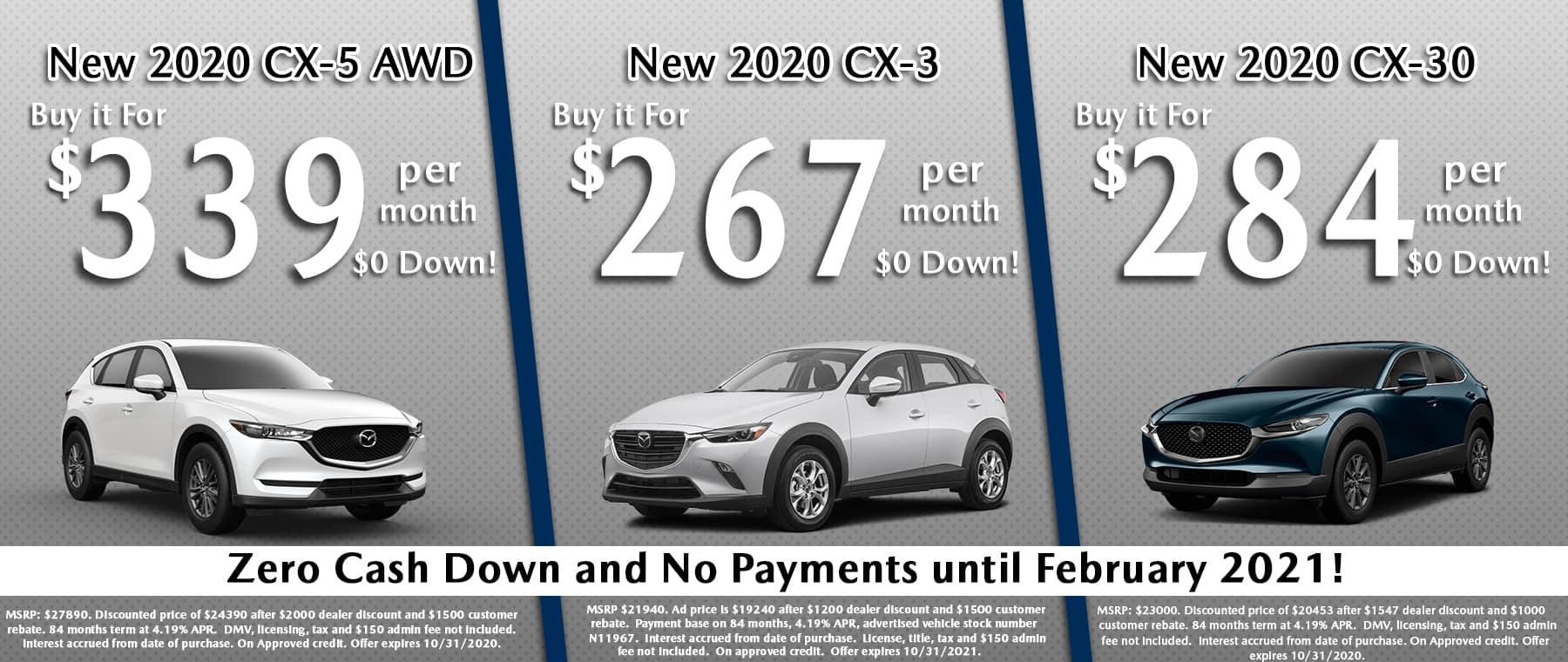 New 2020 CX-5 AWD, New 2020 CX-3, New 2020 CX-30