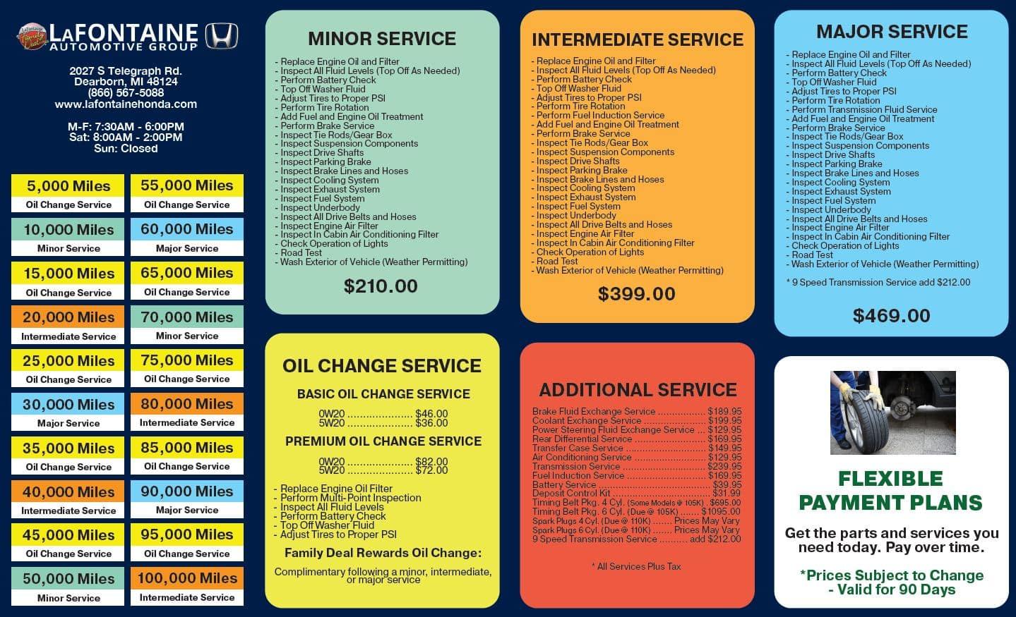 Honda Service Menu Dearborn MI | Near Detroit | Taylor
