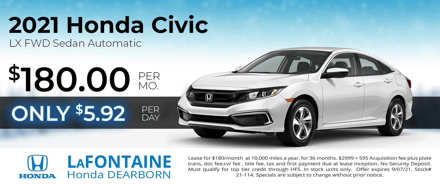 Lease a new 2021 Honda Civic LX for $180/Month for 36 Months