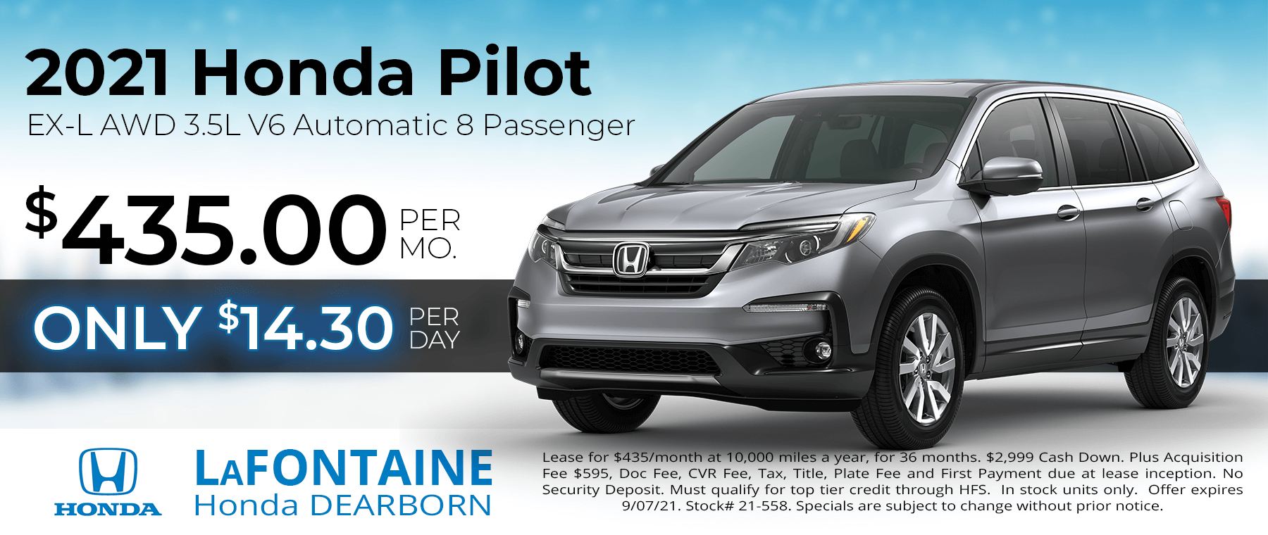 Lease a 2021 Honda Pilot EX-L for $435/Month for 36 Months