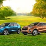 2019 Kia Soul Niro Sportage and Sorento SUVs on rural road