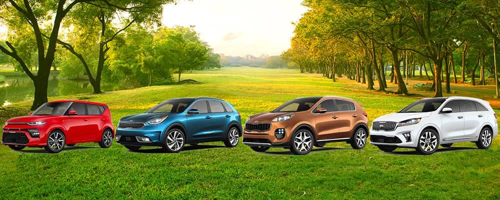 2019 Kia Soul Niro Sportage and Sorento SUVs on rural road