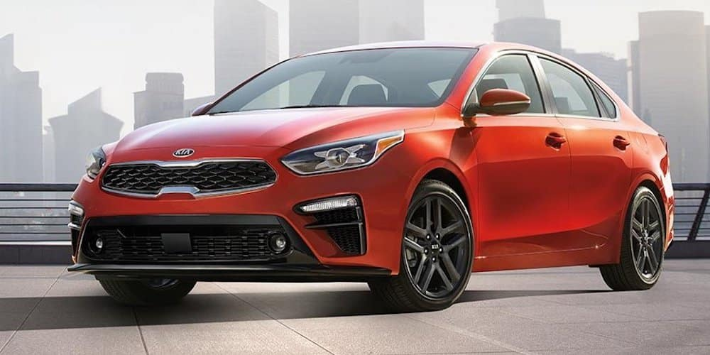 2019 red forte parked