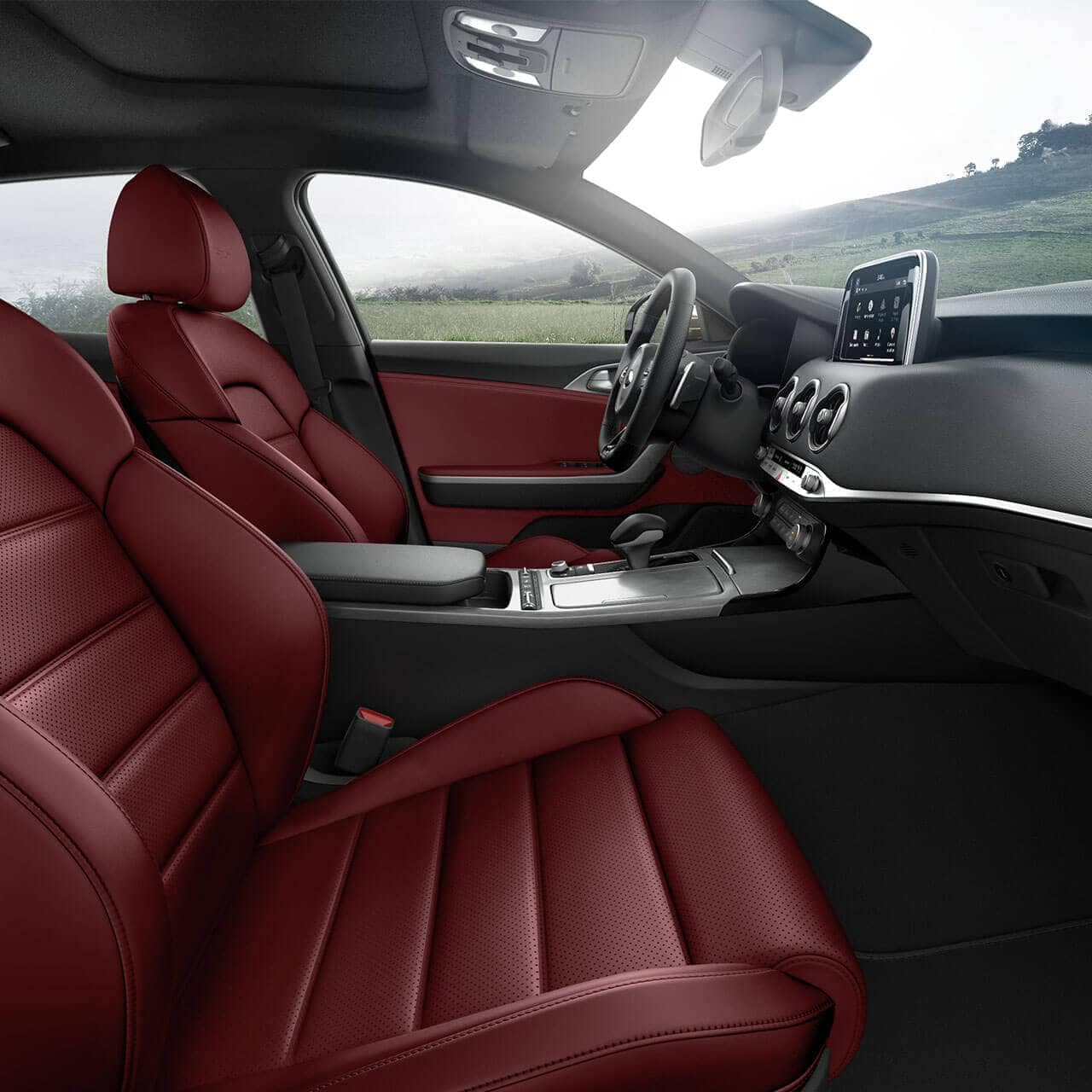 interior cabin of 2018 Kia Stinger with red leather seats