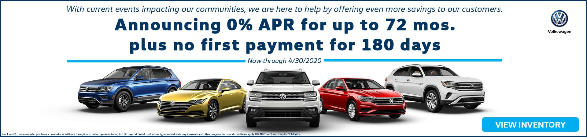 Announcing 0% APR for up to 72 months plus no first payment for 180 days now through April 30, 2020