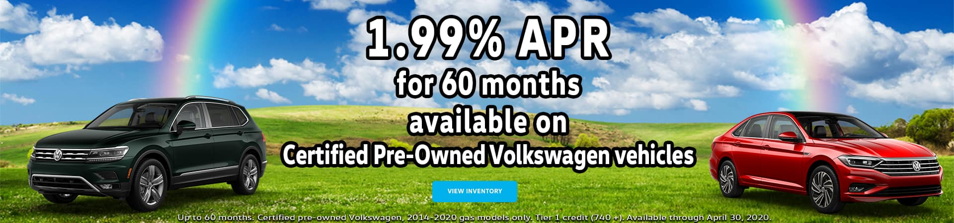 1.99% APR for 60 months available on Certified Pre-Owned Volkswagen vehicles