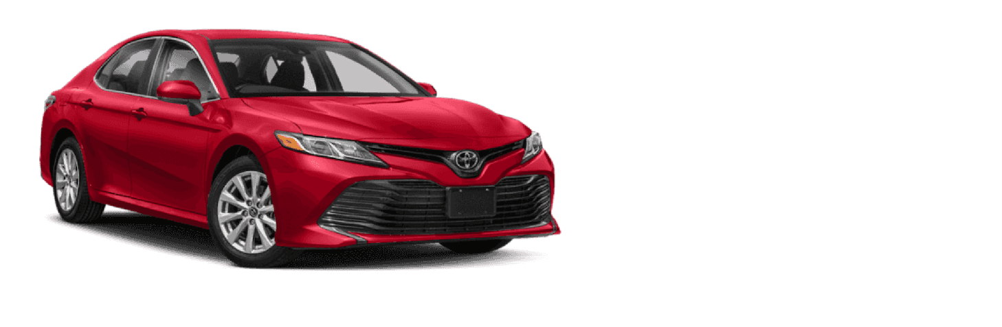 Red Camry LE with lease price and car name listed in white. Disclaimer on bottom graphic.