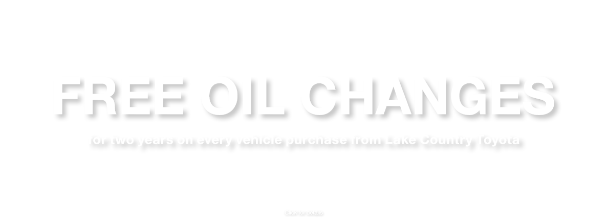 Free oil changes for 2 years near Baxter, MN at Lake Country Toyota