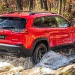 Image of a red 2019 Jeep Cherokee driving through a creek.
