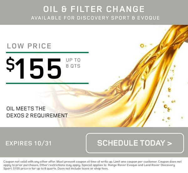 Land Rover Tampa October Oil Change Special