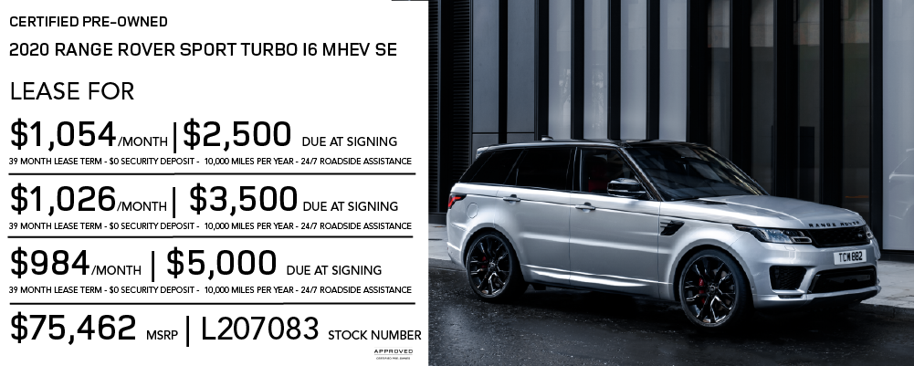 Certified Pre-Owned 2020 Land Rover Range Rover Sport Turbo i6 MHEV SE 4 Door 4WD