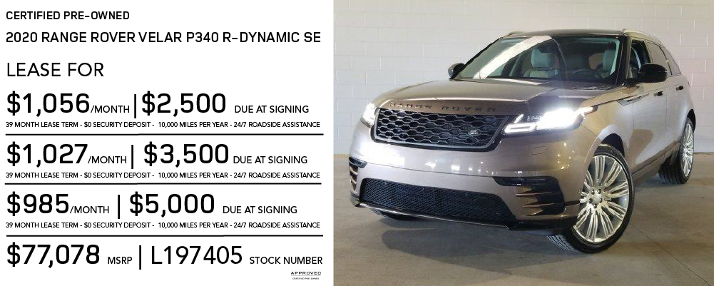 Certified Pre-Owned 2019 Land Rover Range Rover Velar P340 R-Dynamic SE 4 door 4WD