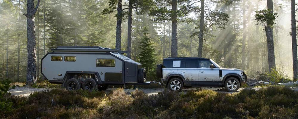 2021 Land Rover defender towing in forest