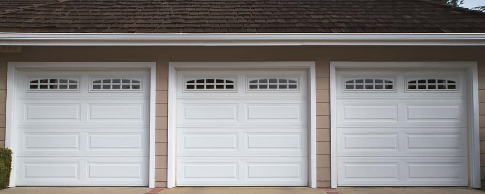 Line of three garage doors
