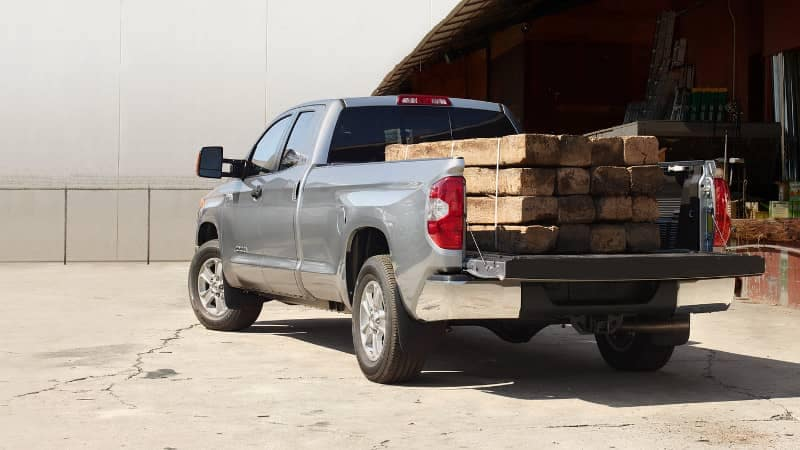 2019 Toyota Tundra SR5 with wood loading on bed