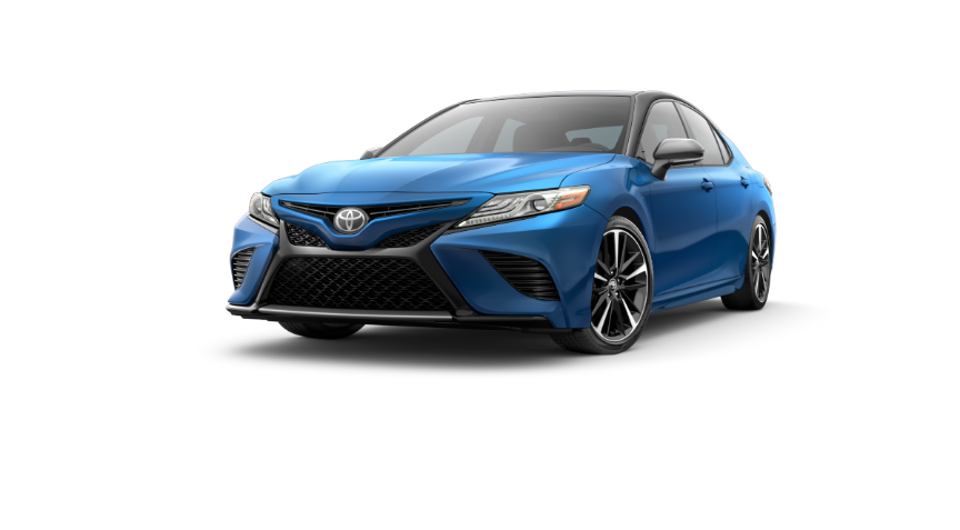 2019 Camry Blue Streak Metallic With Two-Tone Midnight Black Metallic Roof and Rear Spoiler