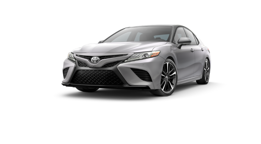 2019 Camry Celestial Silver Metallic With Two-Tone Midnight Black Metallic Rood and Rear Spoiler