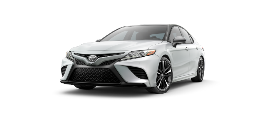 2019 Camry Wind Chill Pearl With Two-Tone Midnight Black Metallic Rood and Rear Spoiler