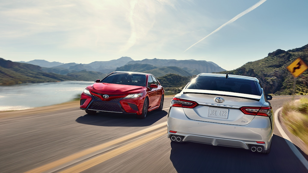 2019 Toyota Camry models on a highway