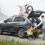 2020 Toyota RAV4 cargo space filled with bikes and bags