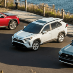 2020 toyota rav4 SUVs in different colors parked at beach