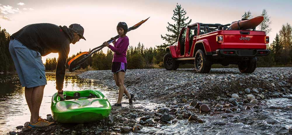 2020 Jeep Gladiator campsite kayaking