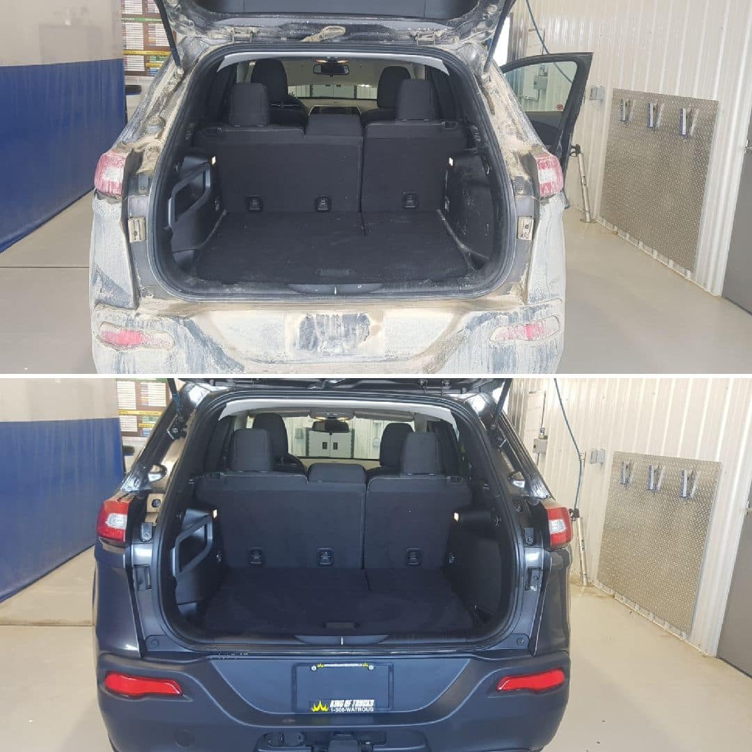 Car before and after detailing at Manitou Mainline Chrysler