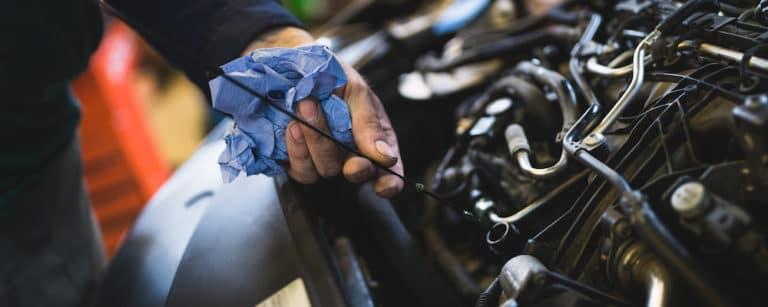 mechanic checking oil levels