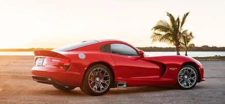 dodge viper with sunset