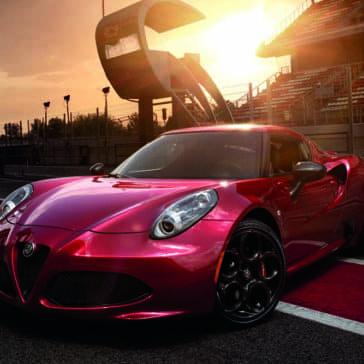 2018 Alfa Romeo 4C parked on track at dusk