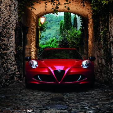 2018 Alfa Romeo 4C parked under stone building