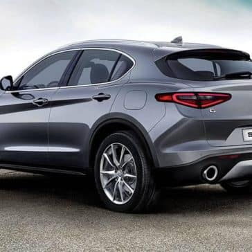 2018 Alfa Romeo Stelvio rearview on a mountain top