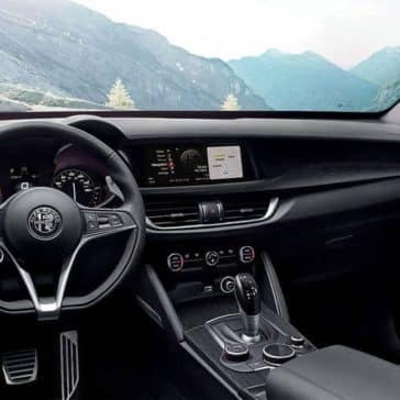 2018 Alfa Romeo Stelvio Ti interior with a mountain view