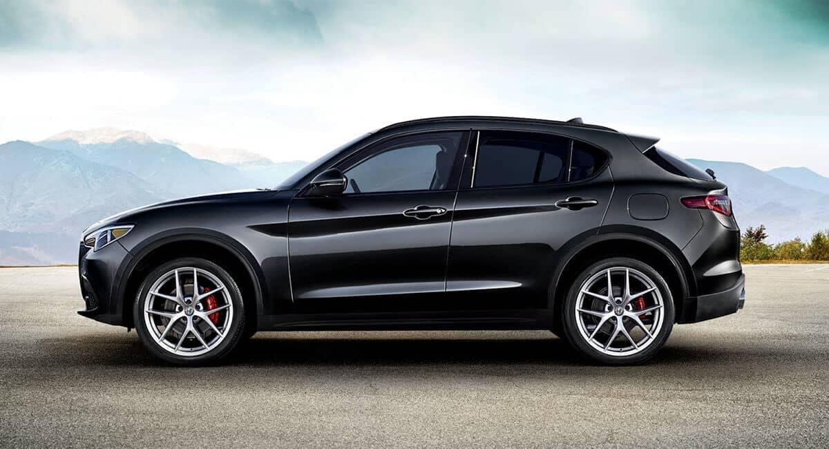 2018 Alfa Romeo Stelvio Ti parked on a mountain