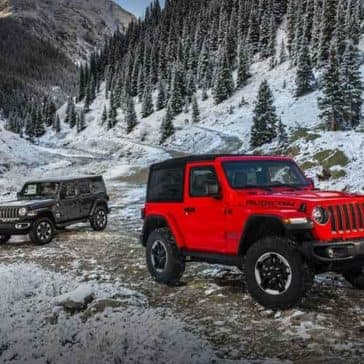 2018 Jeep Wrangler on rugged, winter terrain