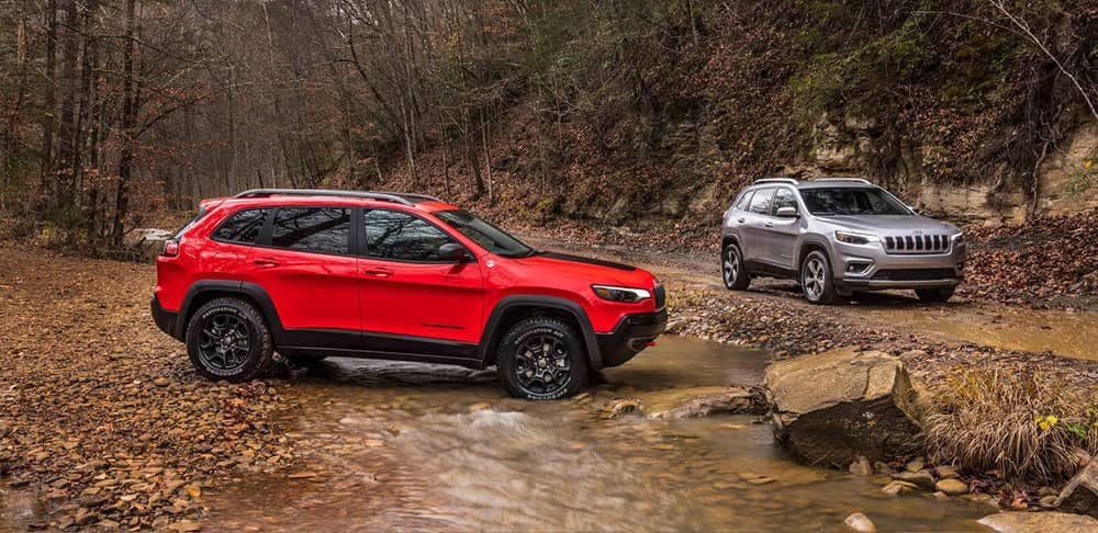 2019 Jeep Cherokee in shallow stream