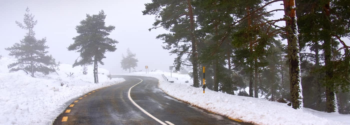 winding road and snowy landscape