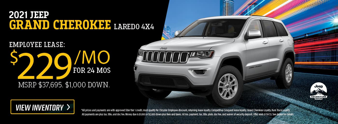 2021 Jeep Grand Cherokee Laredo 4x4 $229/mo x 24 months - Employee Lease MSRP $37,695. $1,000 Down.