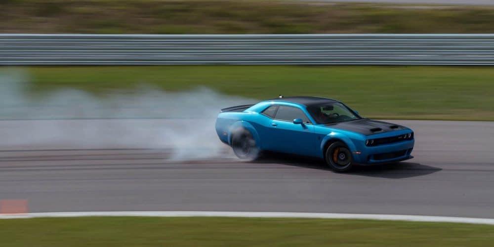 Blue 2020 Dodge Challenger on Track