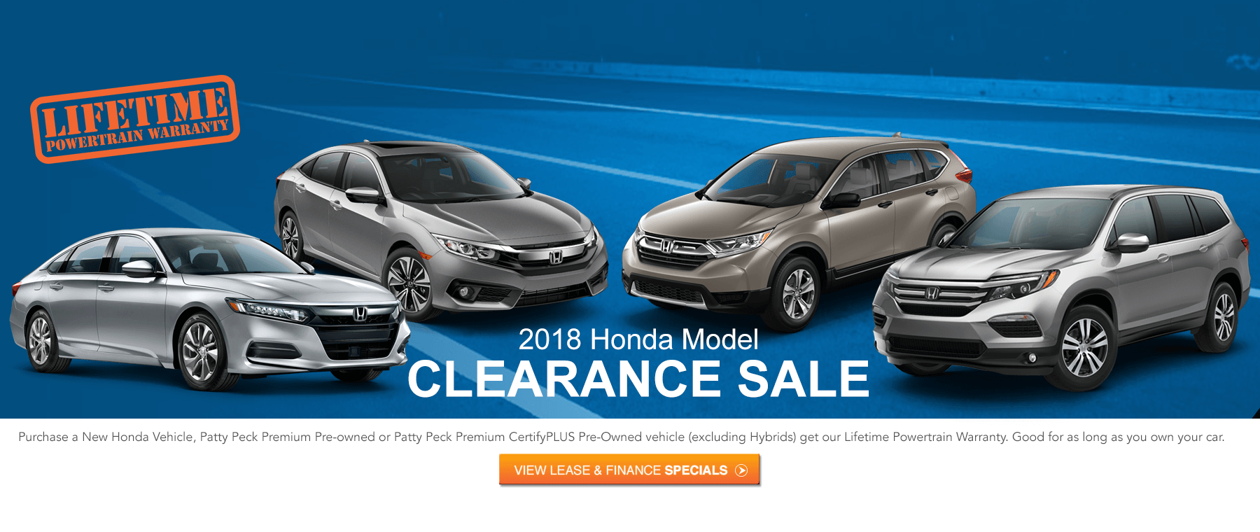 Honda Clearance sale