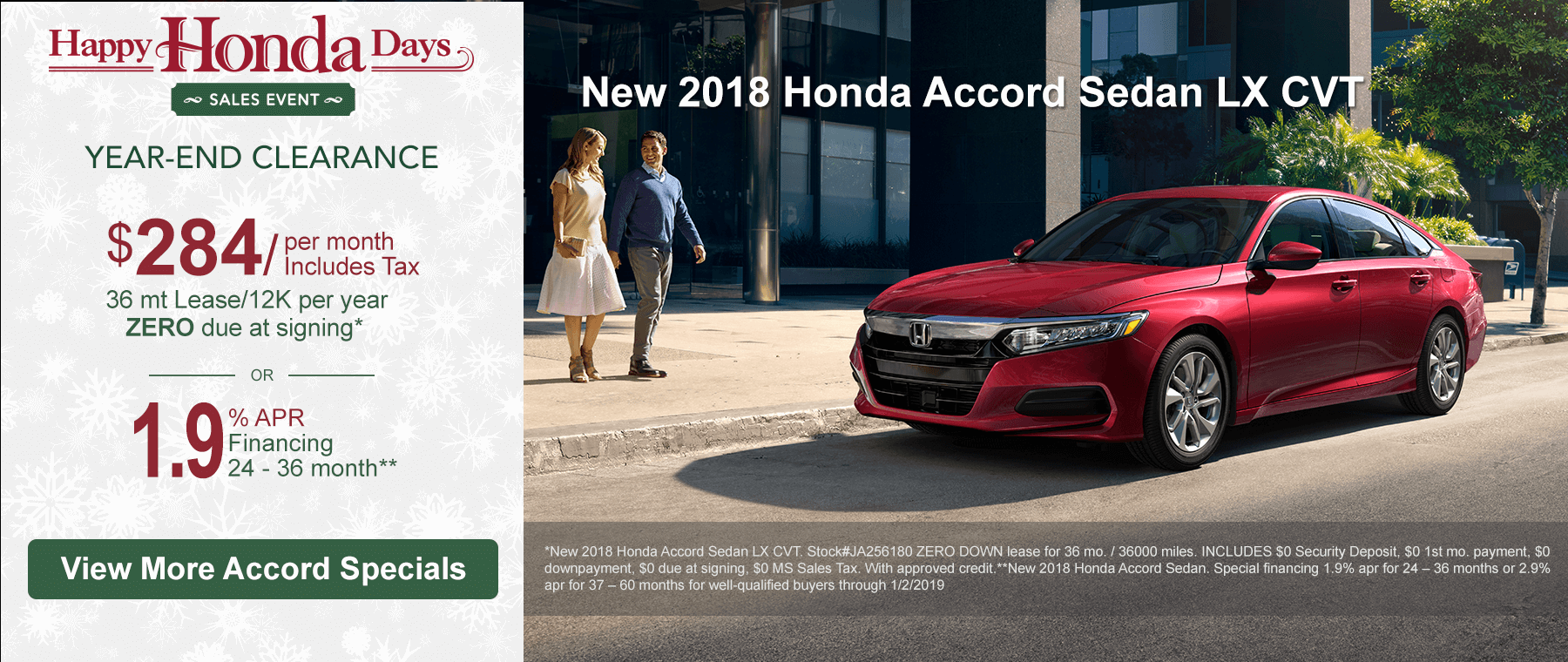2018 Honda Accord Specials