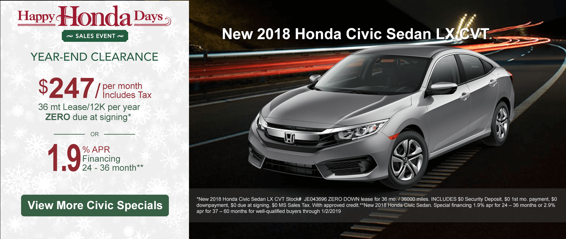Honda Civic Lease and finance specials