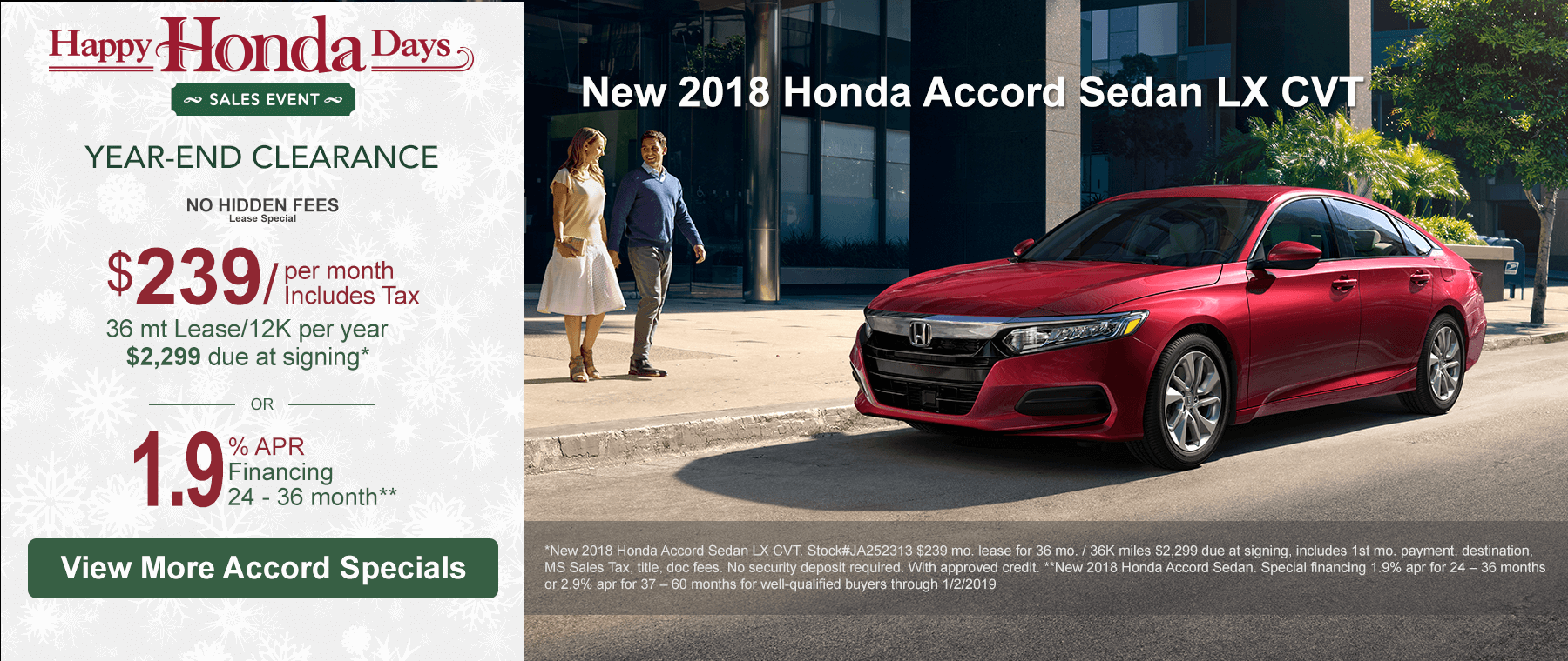 2018 Honda Accord Clearance Banner