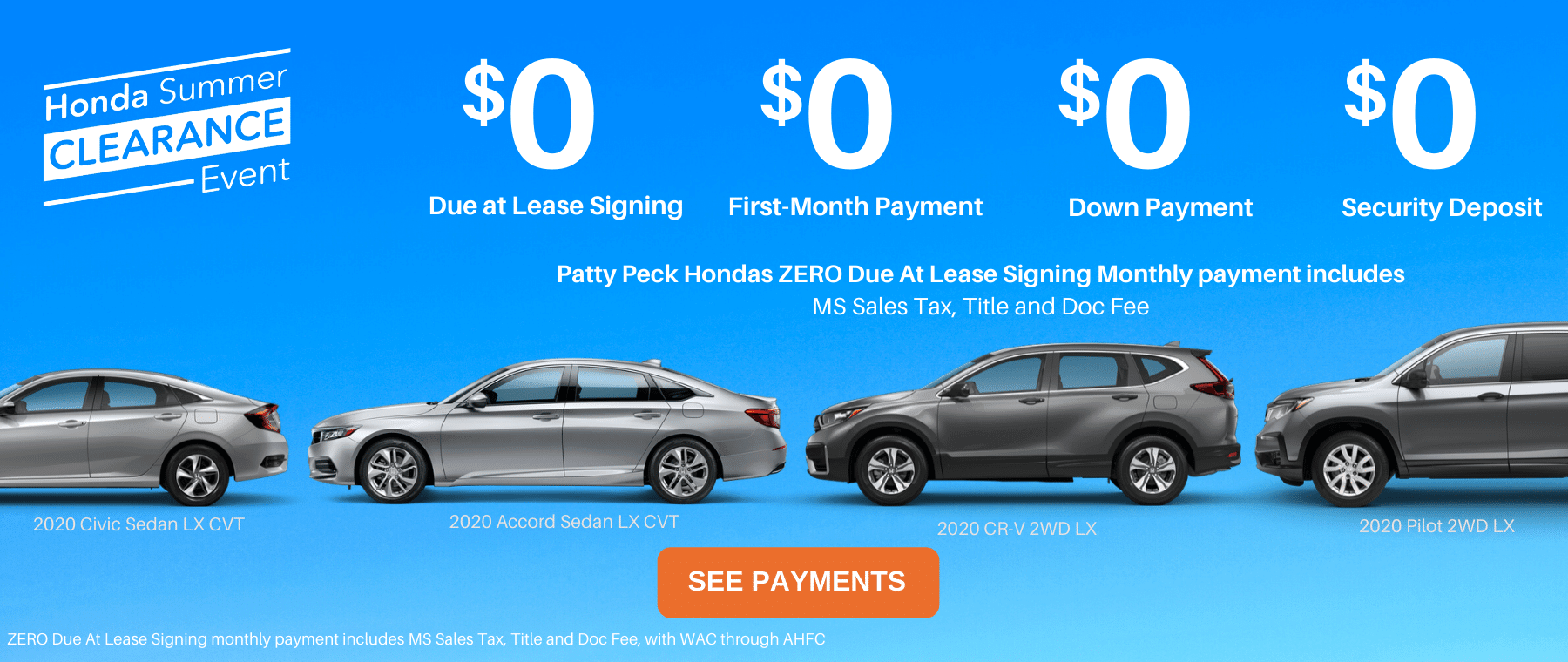 Honda ZERO Down Lease Deals Banner