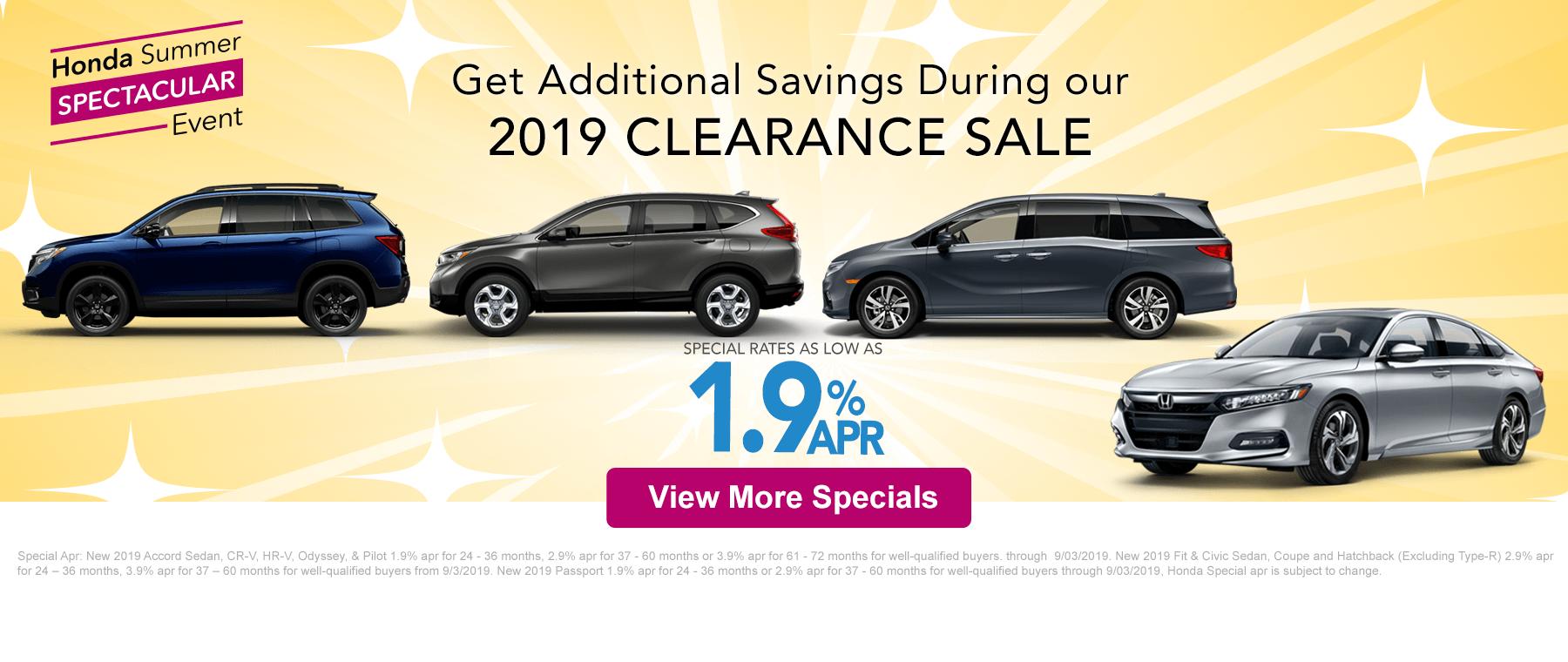 2019 Honda Clearance Sale Banner