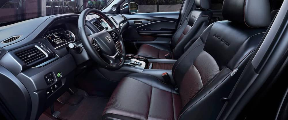 Leather seats inside a 2020 Honda Pilot
