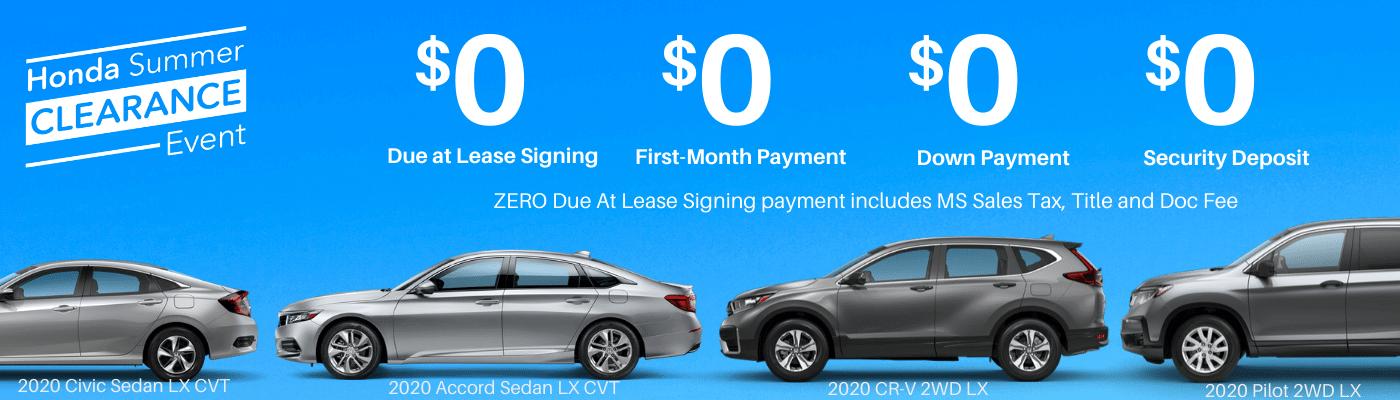 Zero Due Honda Lease Deals pg banner